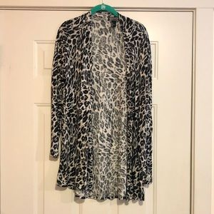 Long Leopard Print Cardigan